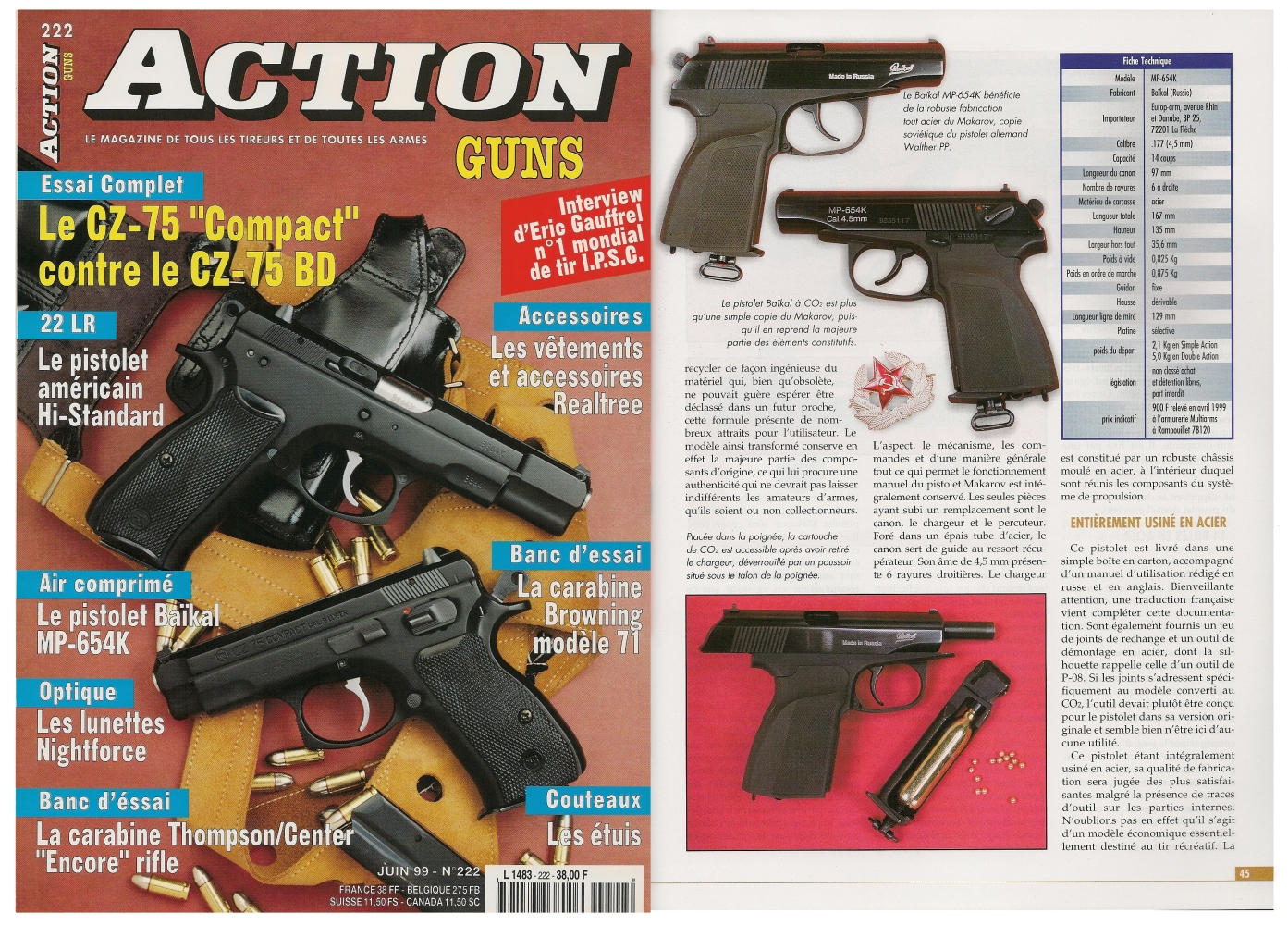 Action Guns n°222_Baïkal MP-654K CO2_petite