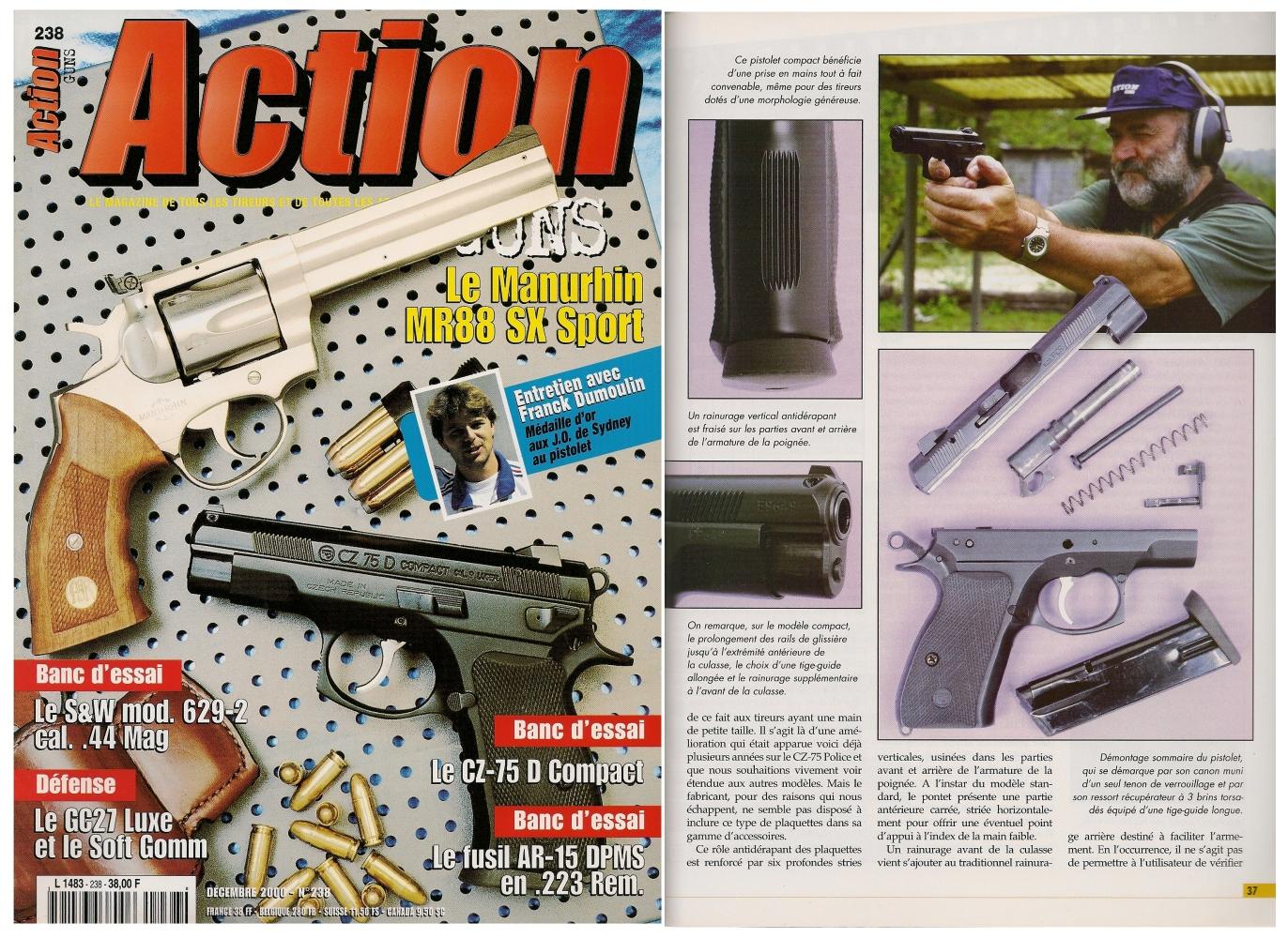 Le banc d'essai du pistolet CZ-74 D Compact a été publié sur 6 pages dans le magazine Action Guns n°238 (décembre 2000).