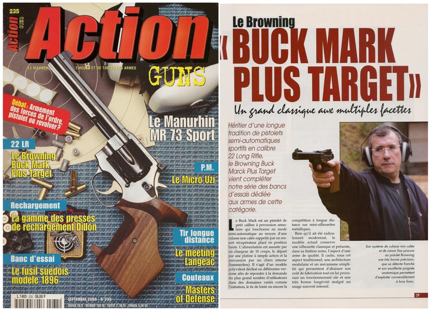 Le banc d'essai du pistolet Browning Buck Mark Plus Target a été publié sur 6 pages dans le magazine Action Guns n° 235 (septembre 2000).