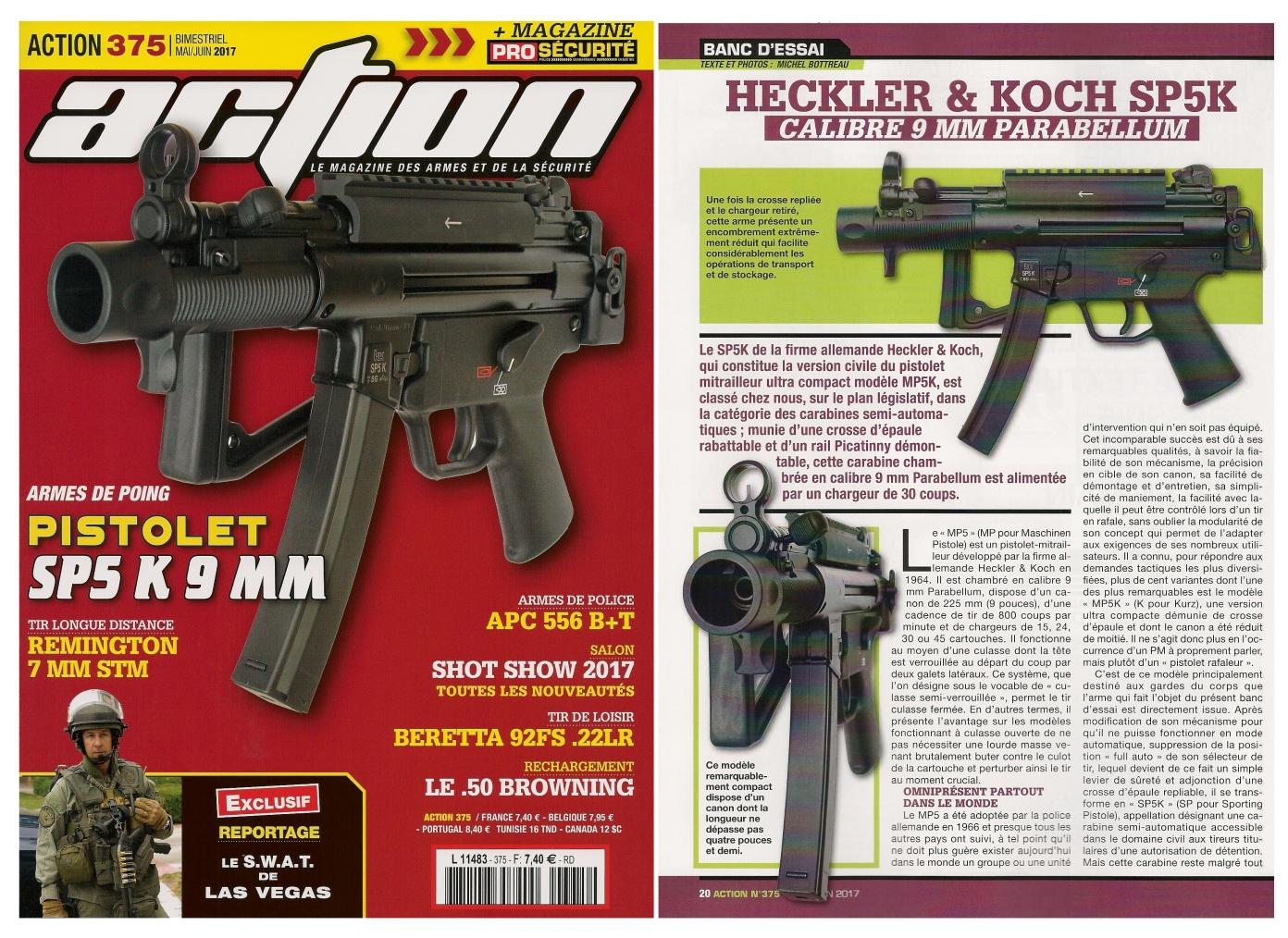 Le banc d'essai du HK SP5 K a été publié sur 6 pages dans le magazine Action n°375 (mai/juin 2017).