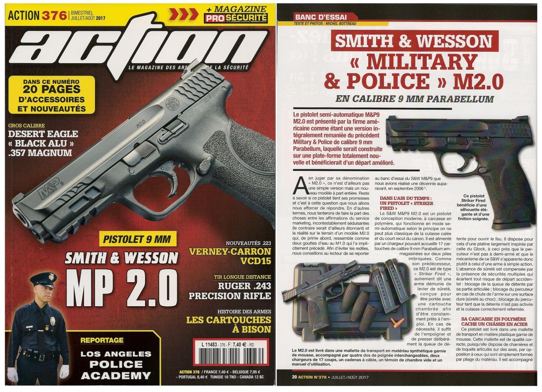 Le banc d'essai du pistolet Smith & Wesson M&P M2.0 a été publié sur 6 pages dans le magazine Action n° 376 (juillet/août 2017).