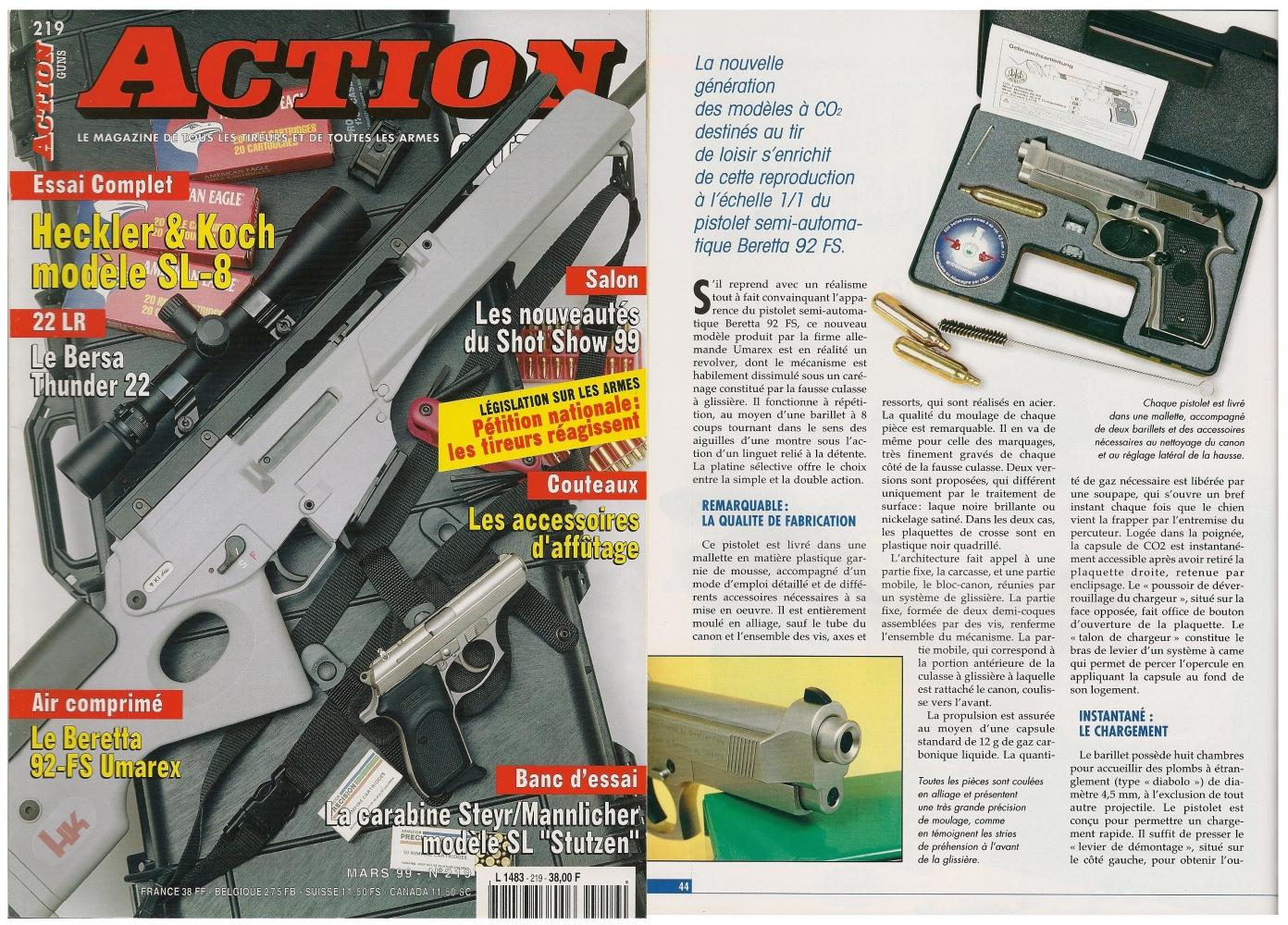 Le banc d'essai du pistolet Beretta 92 FS à CO2 a été publié sur 4 pages dans le magazine Action Guns n°219 (mars 1999)