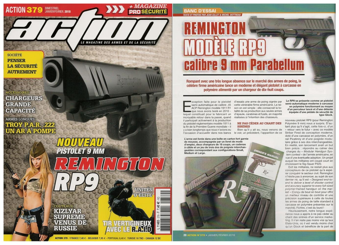 Le banc d'essai du pistolet Remington modèle RP9 a été publié sur 6 pages dans le magazine Action n° 379 (janvier/février 2018).