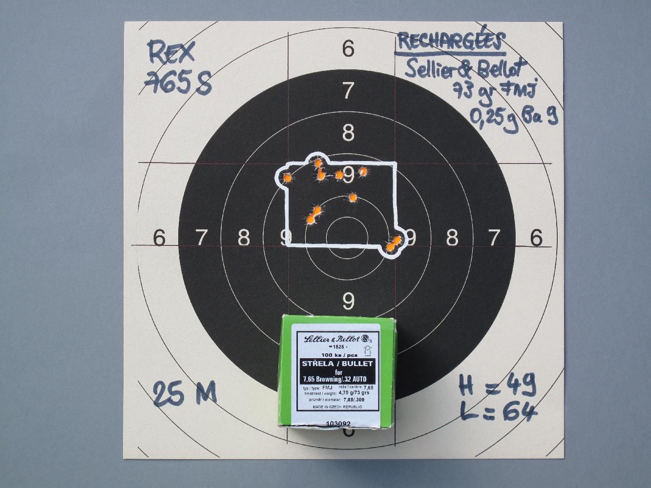 Les cibles, réalisées sur appui à la distance de 25 mètres, démontrent une nette dualité entre la médiocre précision des munitions manufacturées et la précision très correcte de nos cartouches rechargées.
