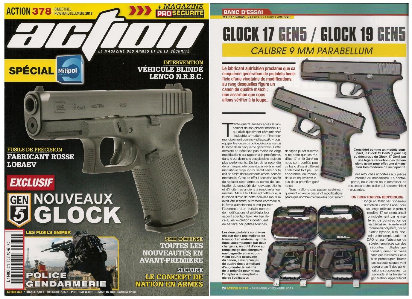 Le banc d'essai des pistolets Glock modèles 17 Gen5 et 19 Gen5 a été publié sur 7 pages dans le magazine Action n° 378 (novembre/décembre 2017).