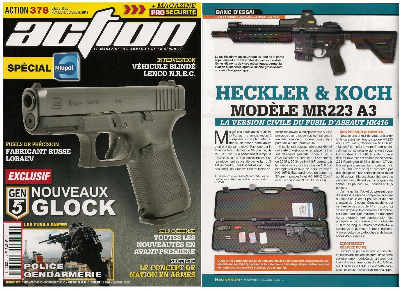 Le banc d'essai de la carabine HK MR223 A3 a été publié sur 6 pages dans le magazine Action n° 378 (novembre/décembre 2017).