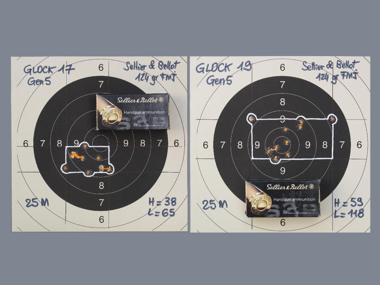 Hormis quelques rares exceptions qui confirment la règle, les groupements de 10 coups réalisés sur appui à la distance de 25 mètres avec diverses munitions manufacturées mettent très clairement en évidence la meilleure précision en cible du Glock 17 comparée à celle du Glock 19.