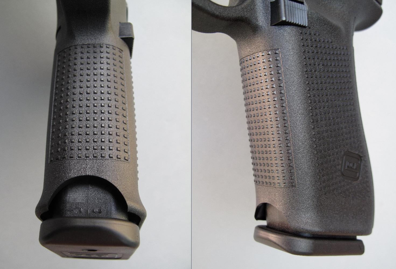La partie antérieure de la poignée perd les creux ergonomiques destinés à accueillir le majeur, l'annulaire et l'auriculaire, mais elle retrouve la large échancrure découpée dans la partie antérieure qui avait disparue sur le Gen4. Combinée avec l'échancrure arrière, elle facilite l'extraction manuelle d'un chargeur récalcitrant en saisissant son talon entre le pouce et l'index.