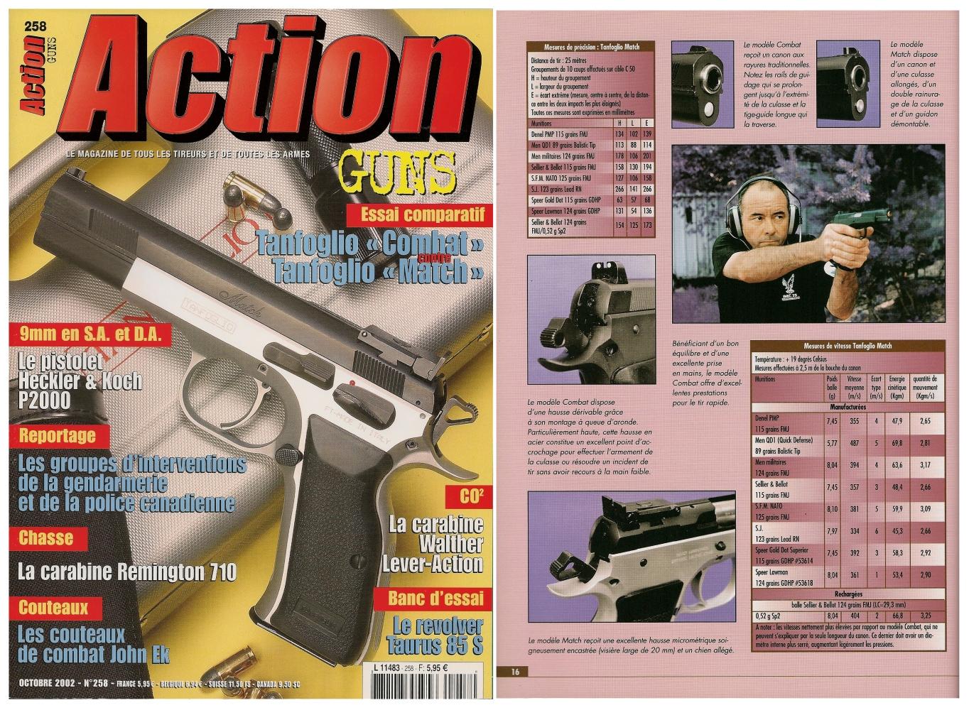 Le banc d'essai des pistolets Tanfoglio « Combat » et « Match » a été publié sur 7 pages dans le magazine Action Guns n°258 (octobre 2002).
