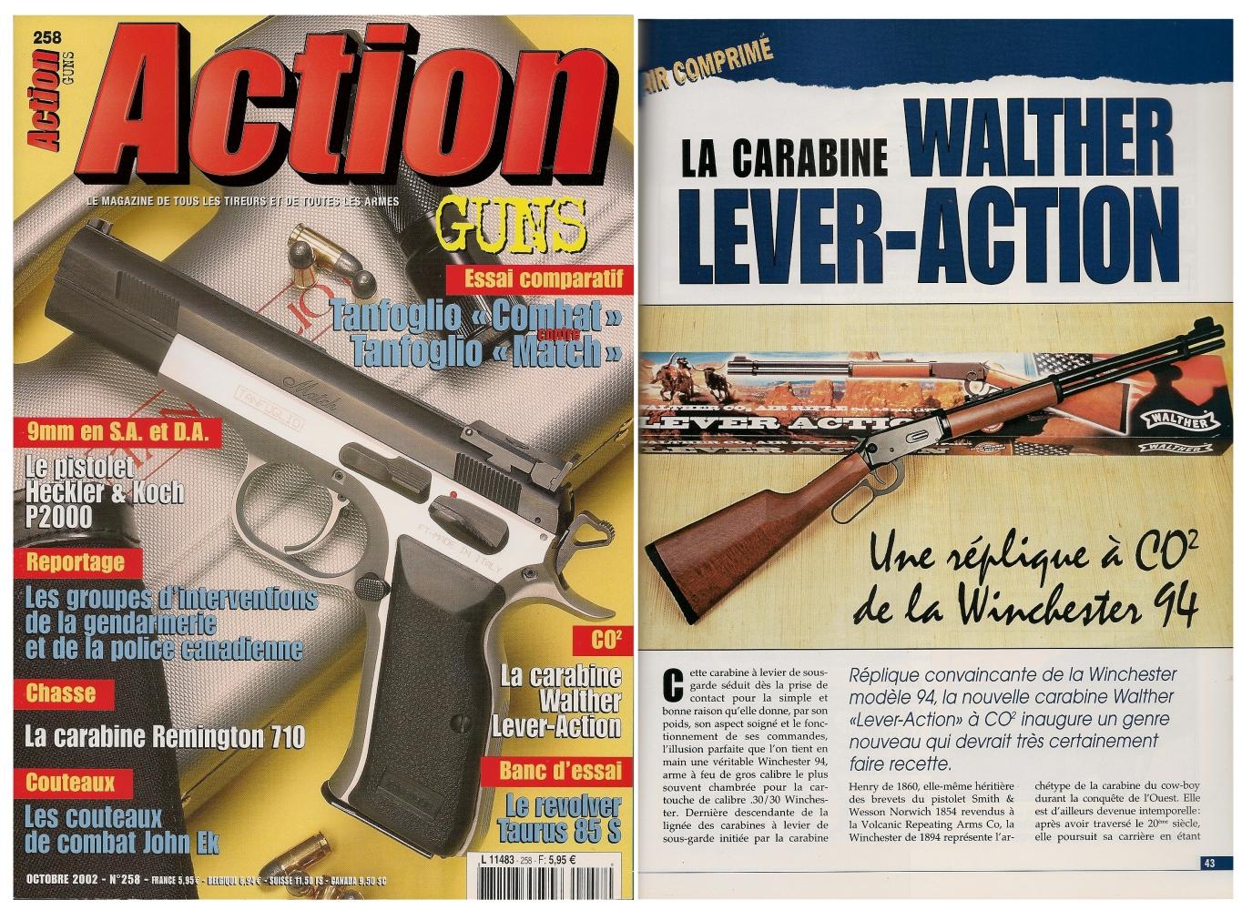 Le banc d'essai de la carabine à Co2 Walther Lever-Action a été publié sur 4 pages dans le magazine Action Guns n°258 (octobre 2002).