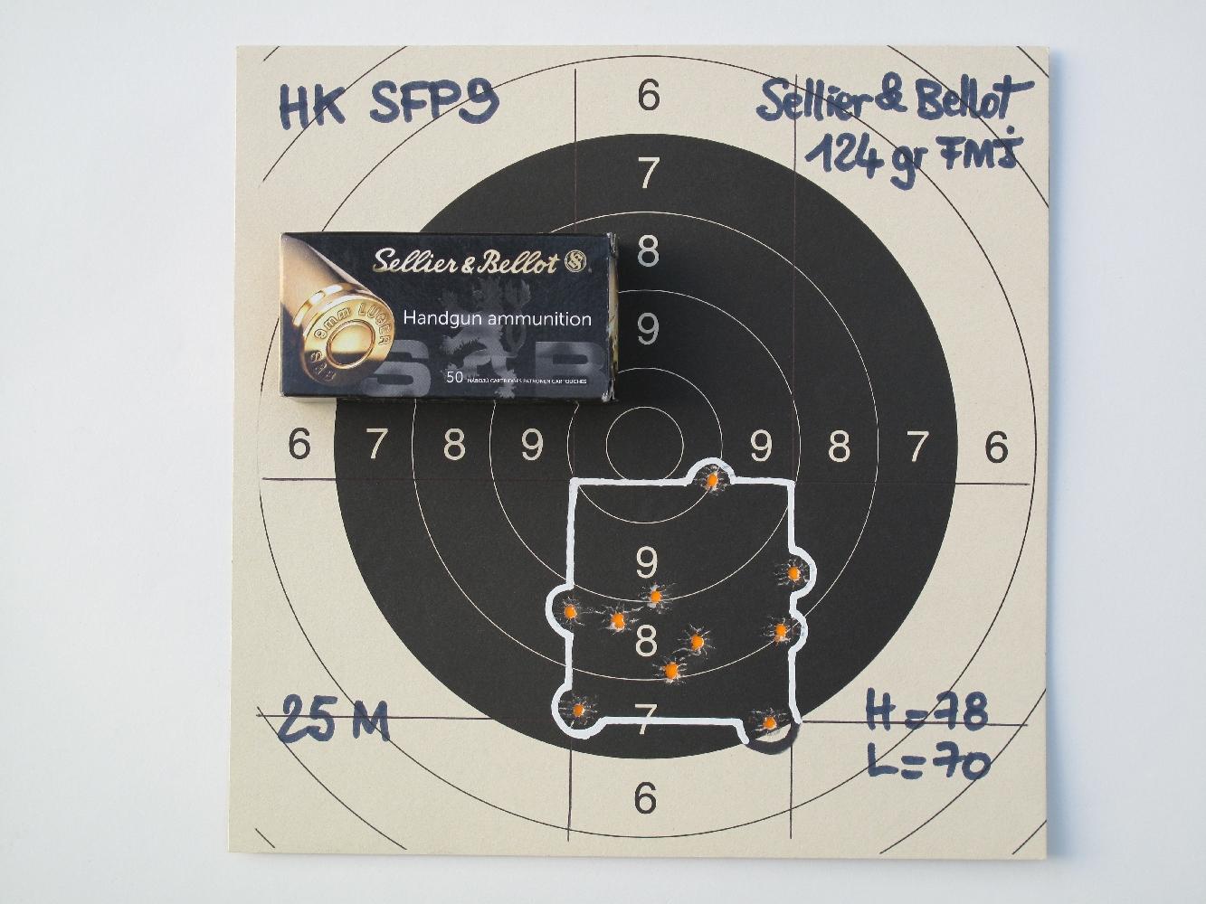 Les munitions manufacturées Sellier & Bellot à balle blindée Round Nose de 124 grains procurent dans ce pistolet une précision tout à fait satisfaisante.
