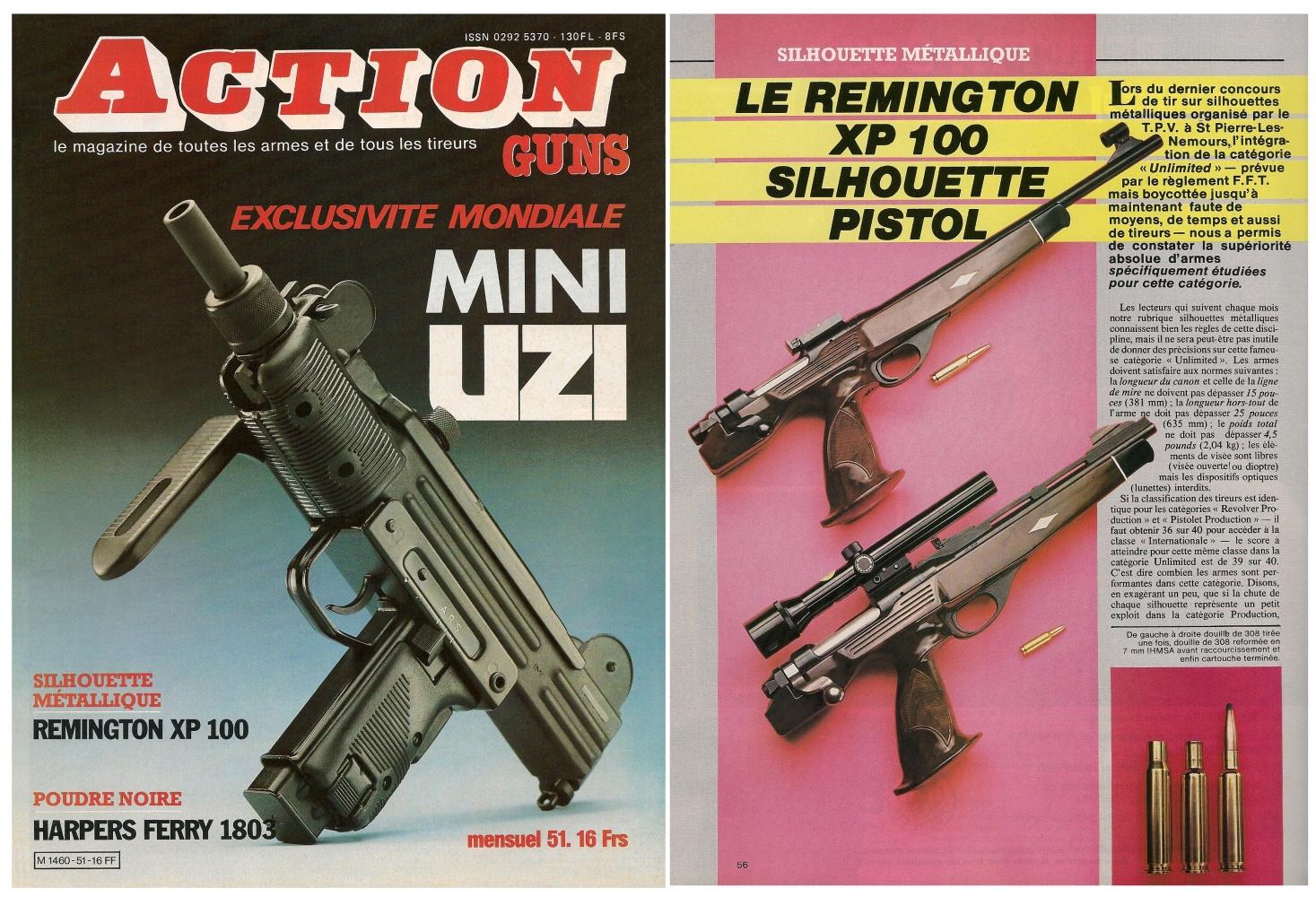 Le banc d'essai du pistolet Remington modèle XP 100 a été publié sur 4 pages dans le magazine Action Guns n° 51 (mars 1983).
