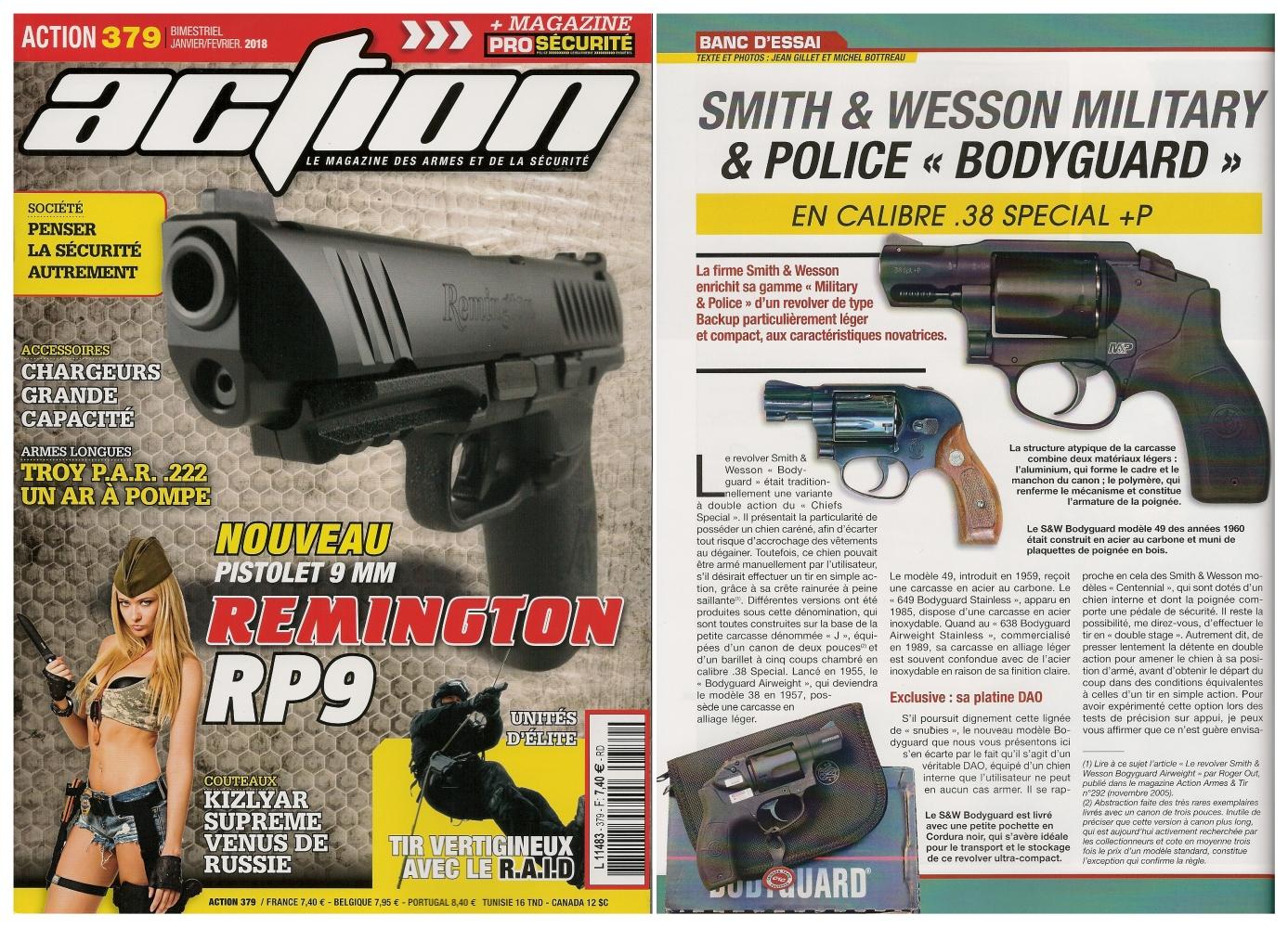 Le banc d'essai du revolver Smith & Wesson M&P Bodyguard a été publié sur 6 pages dans le magazine Action n° 379 (janvier/février 2018).