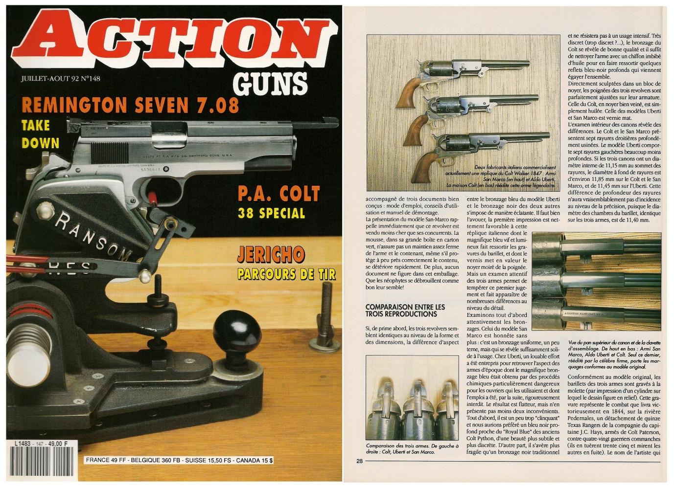 Le banc d'essai des répliques du Colt Walker 1847 a été publié sur 5 pages dans le magazine Action Guns n°148 (juillet-août 1992).
