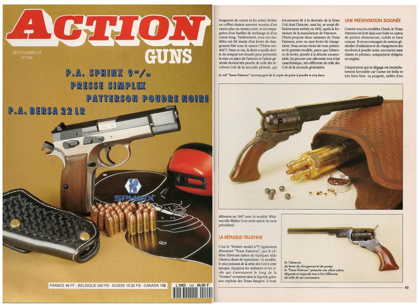 Le banc d'essai de la réplique du Colt Texas Paterson a été publié sur 5 pages dans le magazine Action Guns n°149 (septembre 1992).