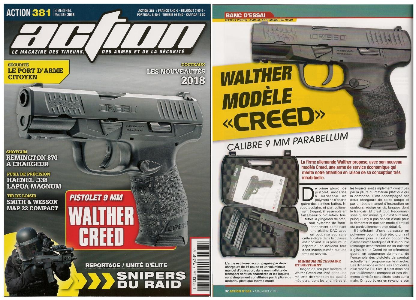 Le banc d'essai du pistolet Walther Creed a été publié sur 5 pages ½ dans le magazine Action n° 381 (mai/juin 2018).
