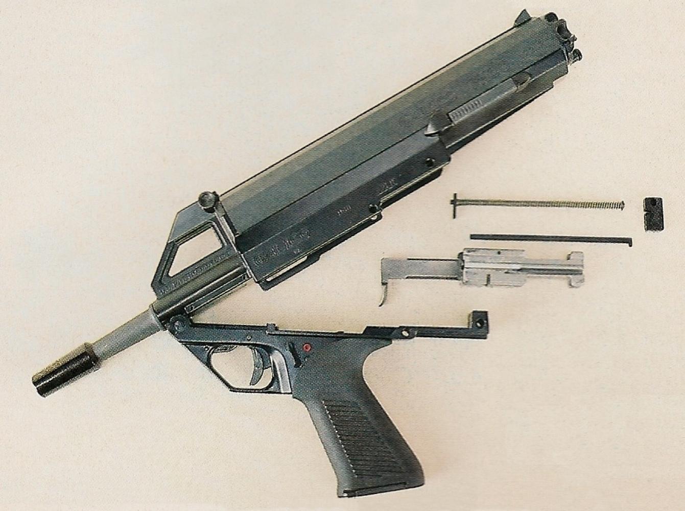 Le démontage sommaire du pistolet Calico représente une de ses originalités, mais aussi de ses qualités parce qu'il peut être effectué facilement et rapidement sans outil.