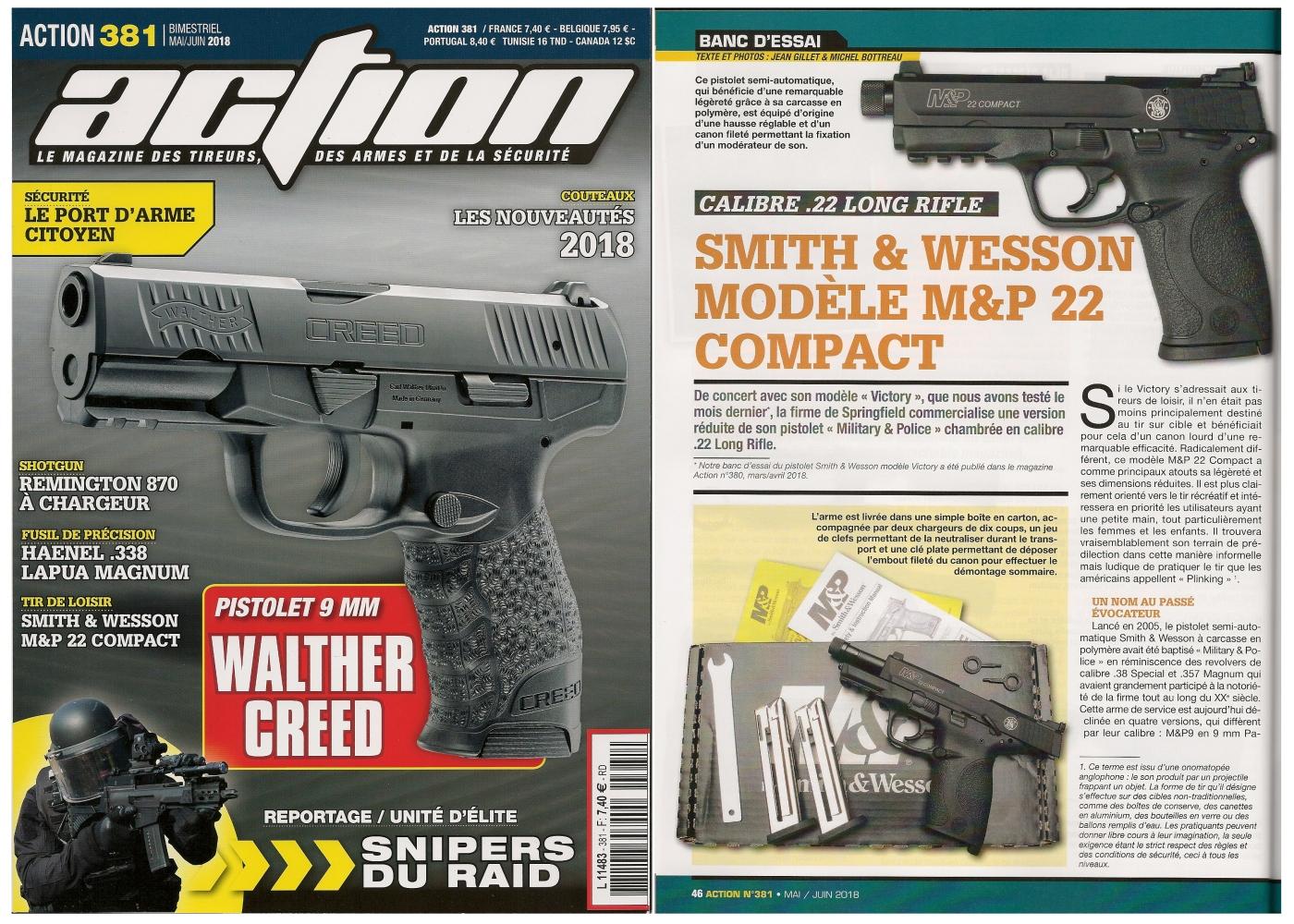 Le banc d'essai du pistolet S&W M&P 22 Compact a été publié sur 5 pages dans le magazine Action n° 381 (mai/juin 2018).