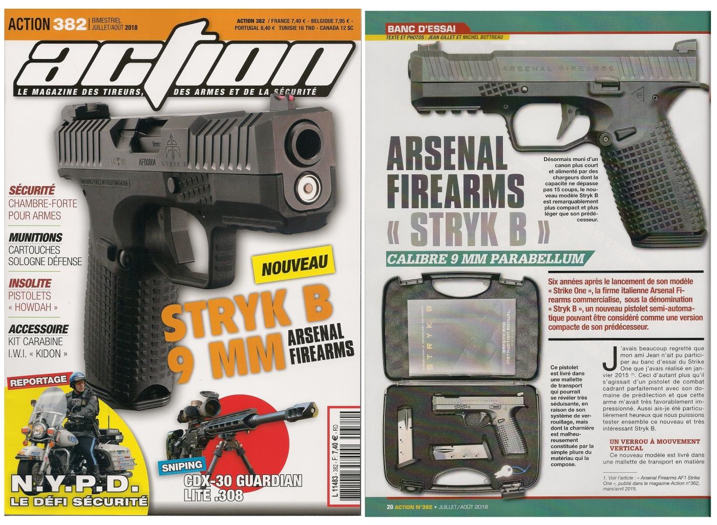 Le banc d'essai du pistolet Arsenal Firearms Styk B a été publié sur 6 pages dans le magazine Action n° 382 (juillet/août 2018).
