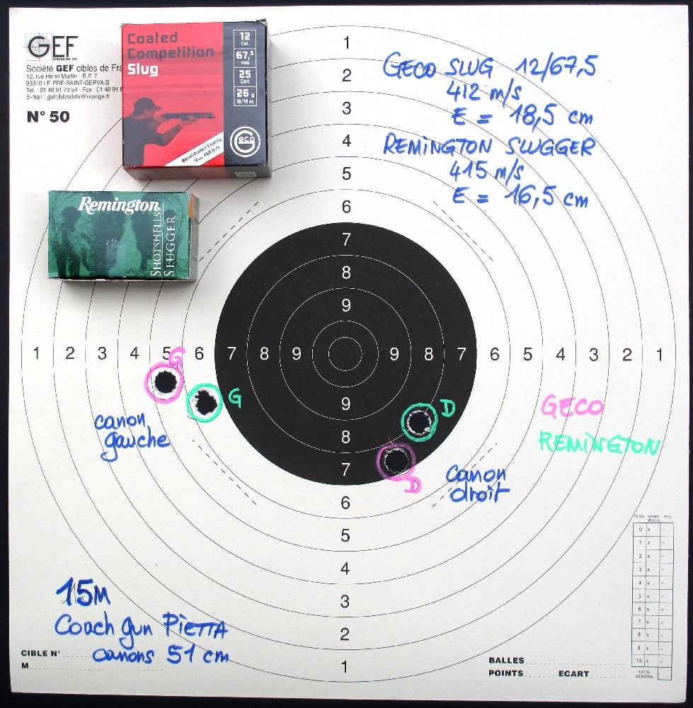 Ces tirs sur une cible C50 de cartouches à balle Slug issues de deux marques concurrentes confirment la déviation observée entre les deux canons, cette dernière restant toutefois dans des limites très acceptables à la distance de quinze mètres.
