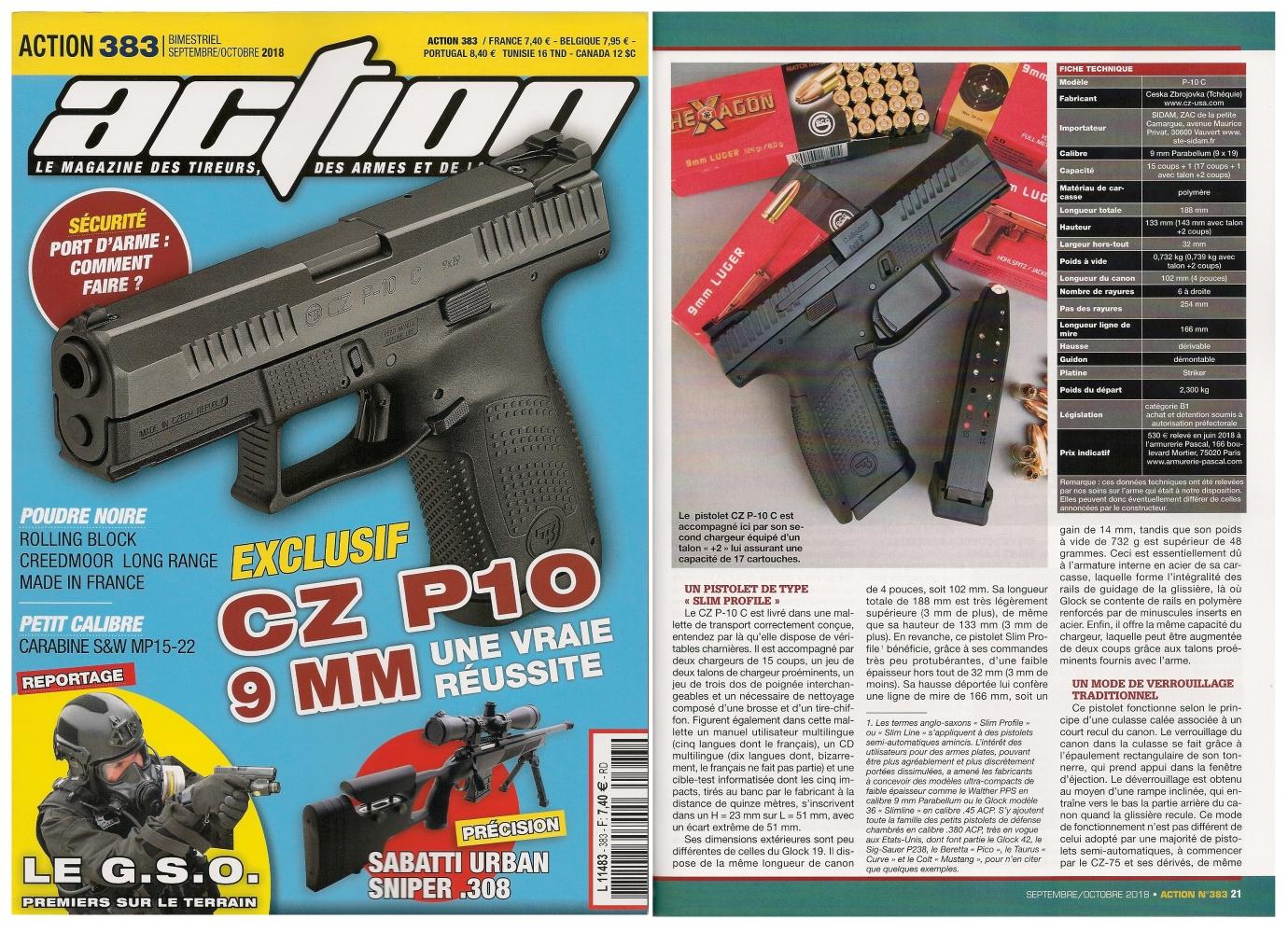 Le banc d'essai du pistolet CZ P10 C a été publié sur 6 pages dans le magazine Action n° 383 (septembre/octobre 2018).
