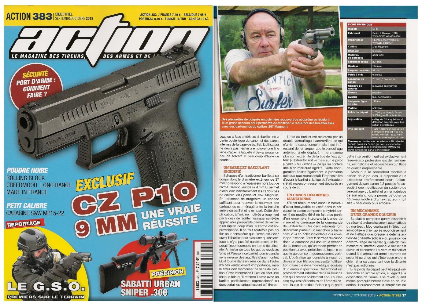 Le banc d'essai du revolver S&W modèle 66-8 Combat Magnum a été publié sur 5 pages dans le magazine Action n° 383 (septembre/octobre 2018).
