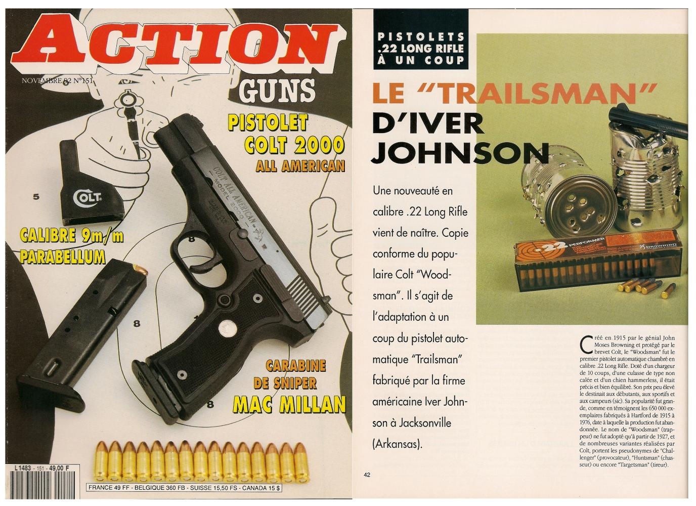 Le banc d'essai du pistolet Iver Johnson « Trailsman » a été publié sur 5 pages dans le magazine Action Guns n° 151 (novembre 1992).