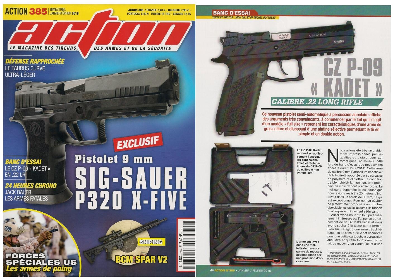 Le banc d'essai du pistolet CZ P-09 Kadet a été publié sur 5 pages dans le magazine Action n°385 (janvier/février 2019).