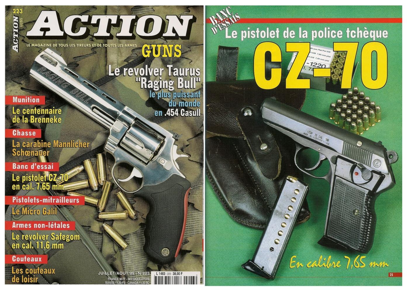 Le banc d'essai du pistolet CZ modèle 70 a été publié sur 5 pages dans le n°223 (juillet/août 1999) du magazine Action Guns.