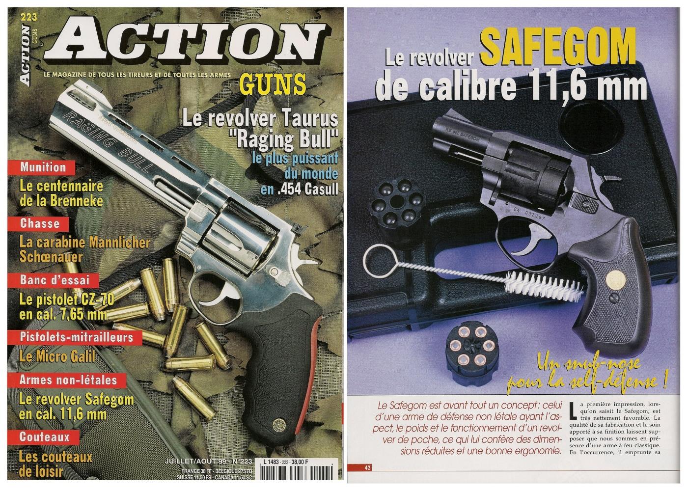 Le banc d'essai du revolver Safegom à balles en caoutchouc a été publié sur 4 pages dans le n°223 (juillet/août 1999) du magazine Action Guns.