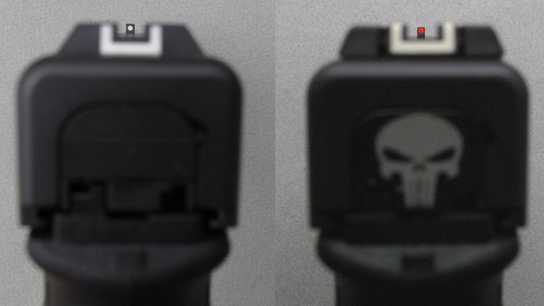 Comparaison entre la prise de visée standard (à gauche) et la prise de visée avec hausse réglable et fibre optique. Tenez compte du fait, d'une part, que l'objectif de l'appareil photo fait paraître le guidon plus petit que ne le voit l'œil du tireur et que, d'autre part, la luminosité de la fibre optique n'apparaît pas sur cette photo prise en intérieur.