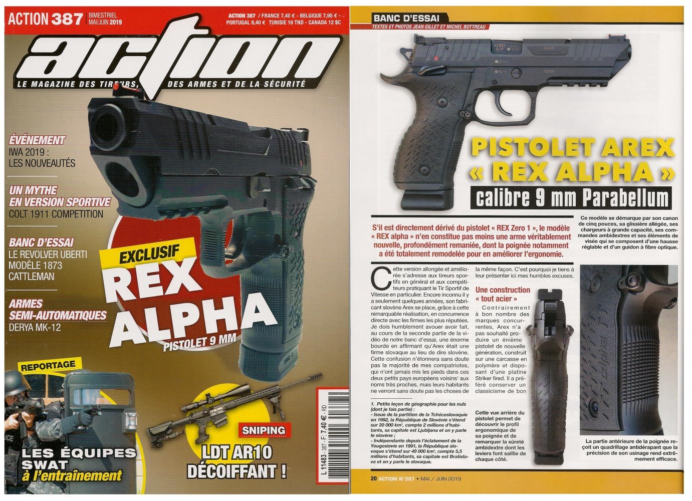 Le banc d'essai du pistolet Arex REX alpha a été publié sur 6 pages dans le magazine Action n°387 (mai/juin 2019).