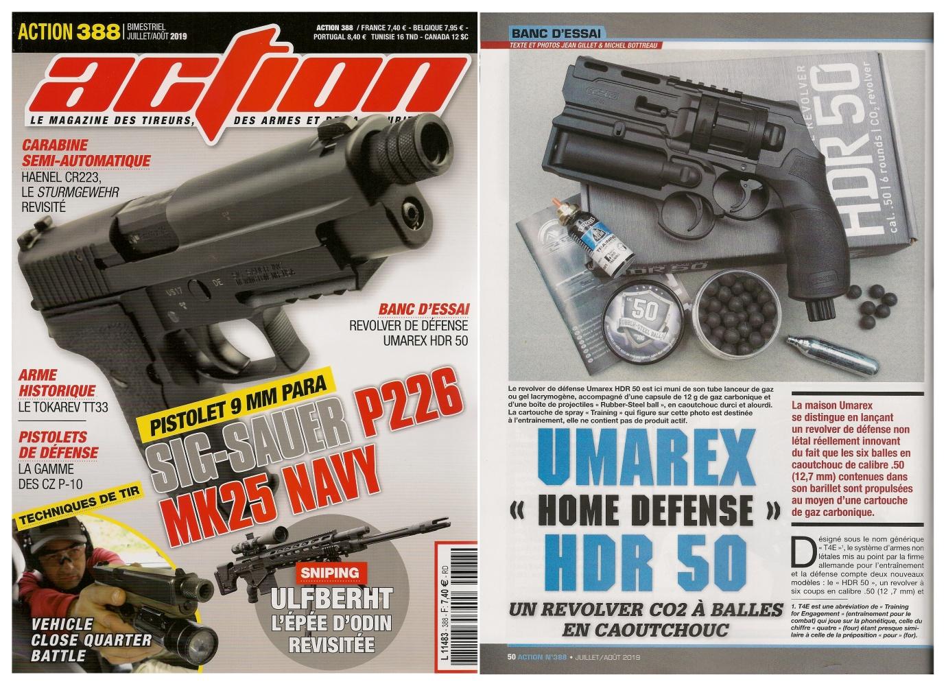 Le banc d'essai du revolver Umarex Home Defense HDR 50 a été publié sur 5 pages dans le magazine Action n°388 (juillet/août 2019).