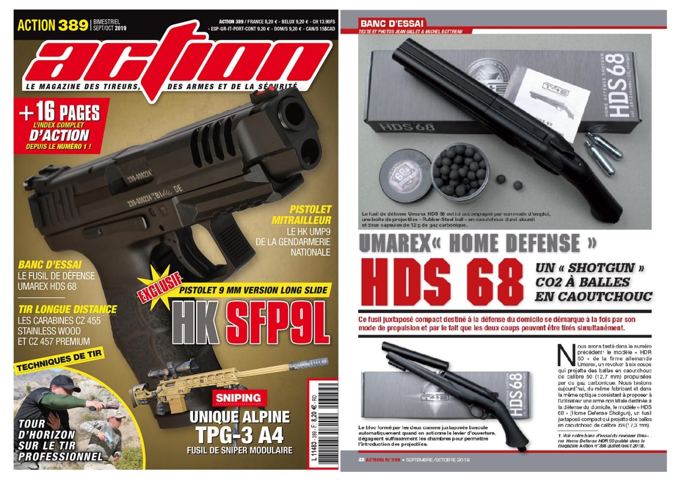 Le banc d'essai du fusil Umarex HDS 68 a été publié sur 5 pages dans le magazine Action n°389 (septembre-octobre 2019).