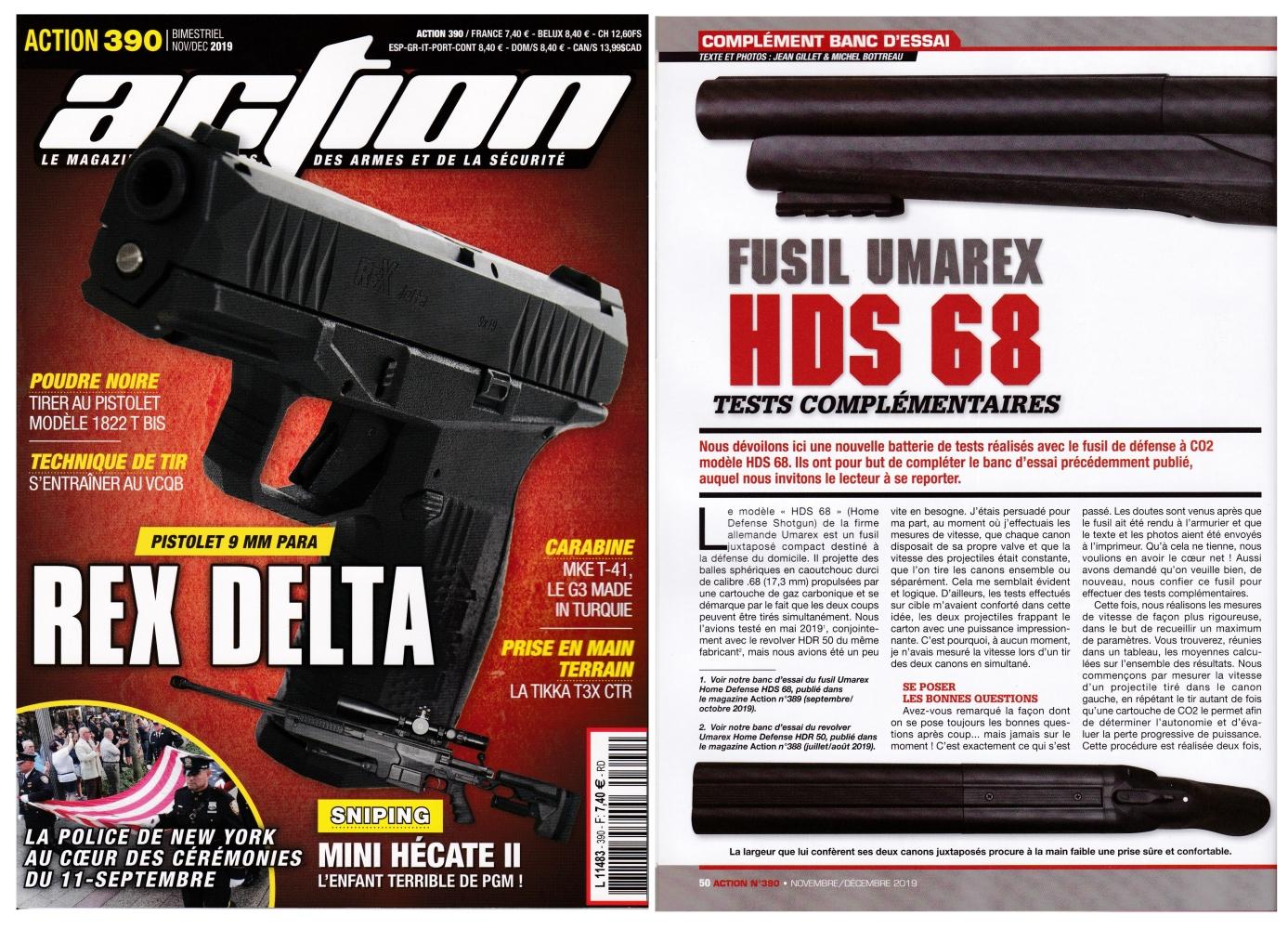 Notre complément de banc d'essai du fusil Umarex HDS 68 a été publié sur 3 pages dans le magazine Action n°390 (novembre-décembre 2019).