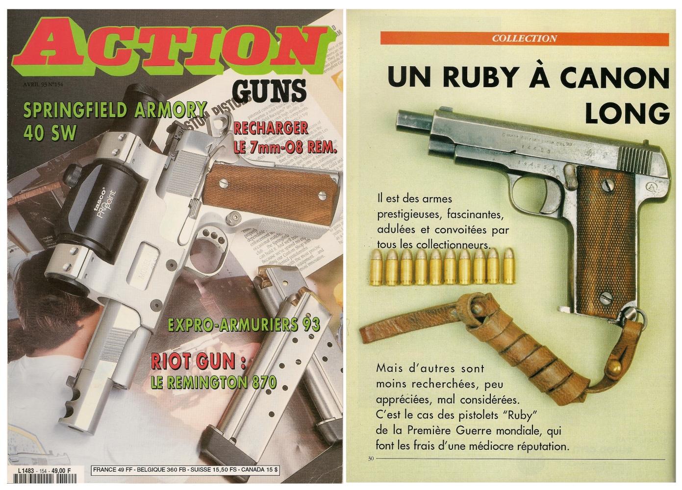 Le banc d'essai du pistolet Arizage type « Ruby 14-18 » a été publié sur 5 pages dans le magazine Action Guns n°154 (avril 1993)