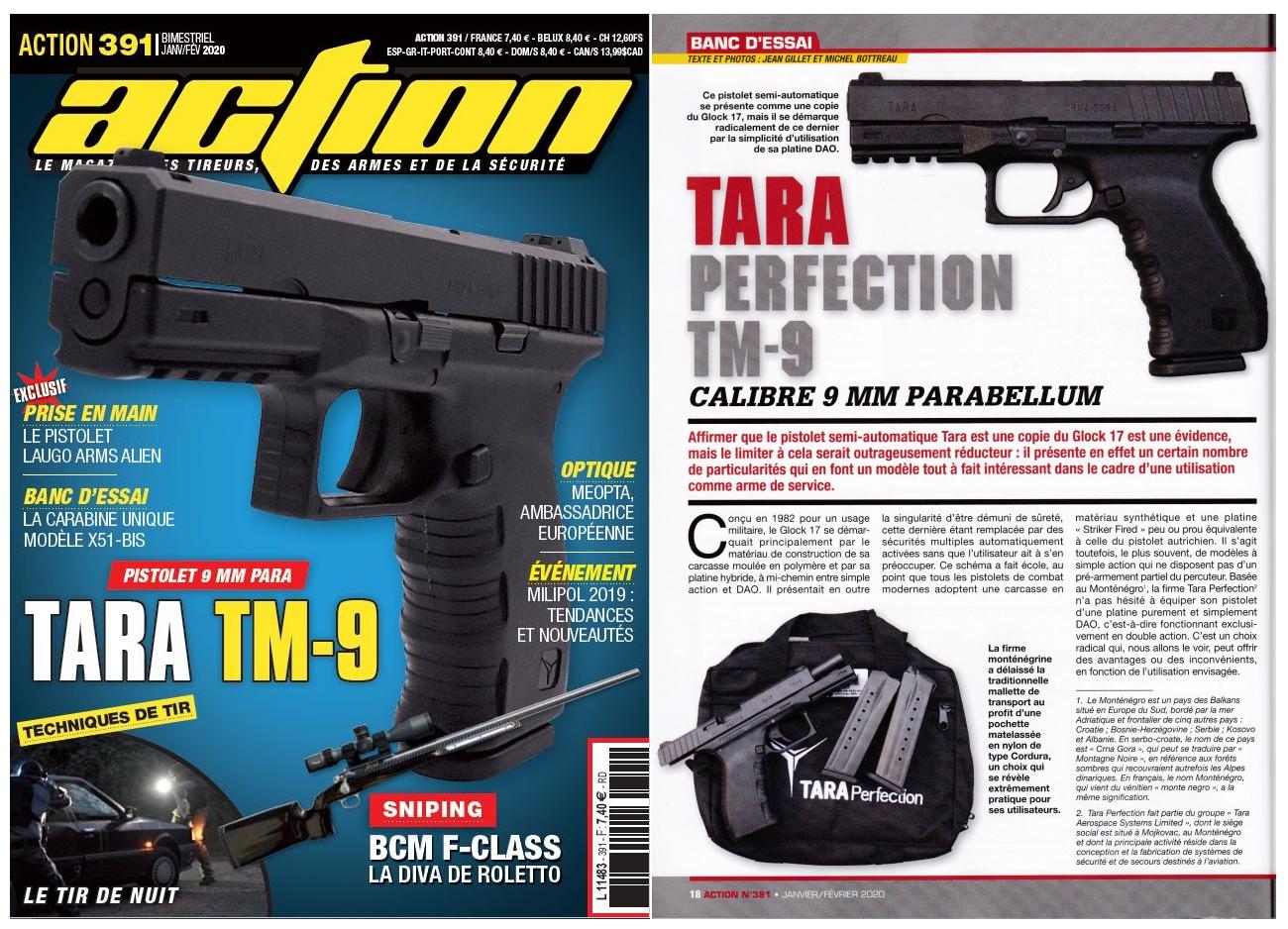Le banc d'essai du pistolet TARA Perfection TM-9 a été publié sur 6 pages dans le magazine Action n°391 (janvier-février 2020).