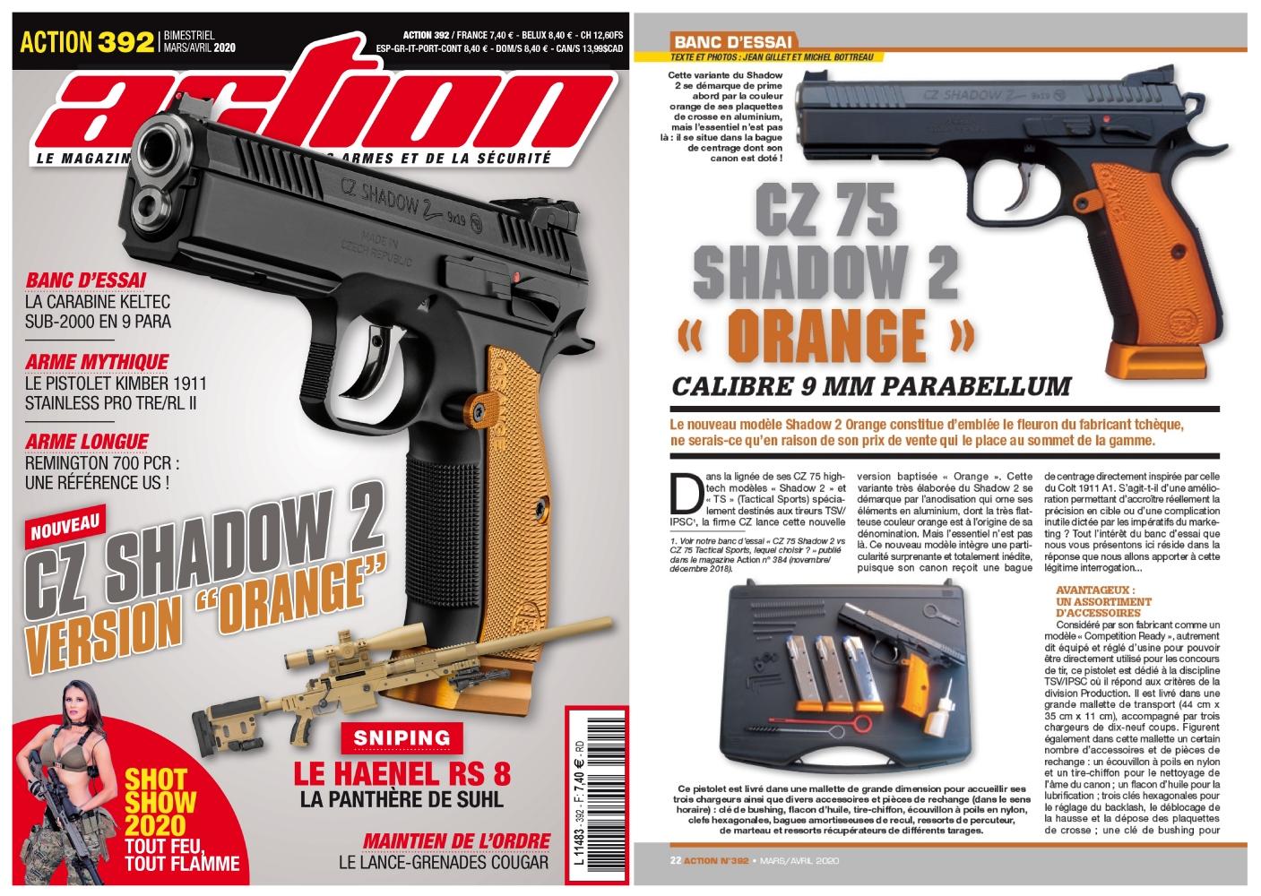 Le banc d'essai du pistolet CZ 75 Shadow 2 Orange a été publié sur 6 pages dans le magazine Action n°392 (mars-avril 2020).