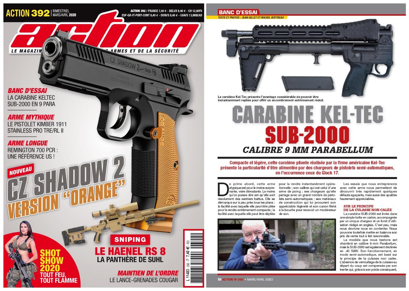 Le banc d'essai de la carabine KEL-TEC SUB-2000 a été publié sur 5 pages dans le magazine Action n°392 (mars-avril 2020).