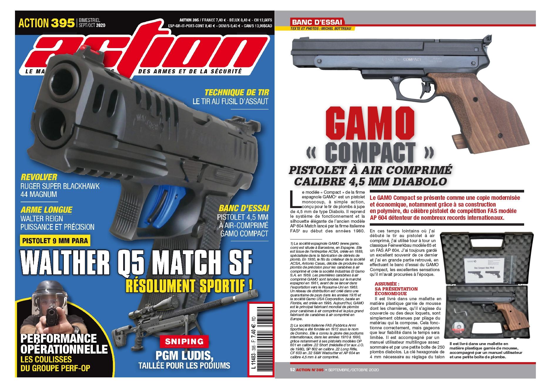 Le banc d'essai du pistolet à air comprimé GAMO Compact a été publié sur 6 pages dans le magazine Action n°395 (septembre/octobre 2020).