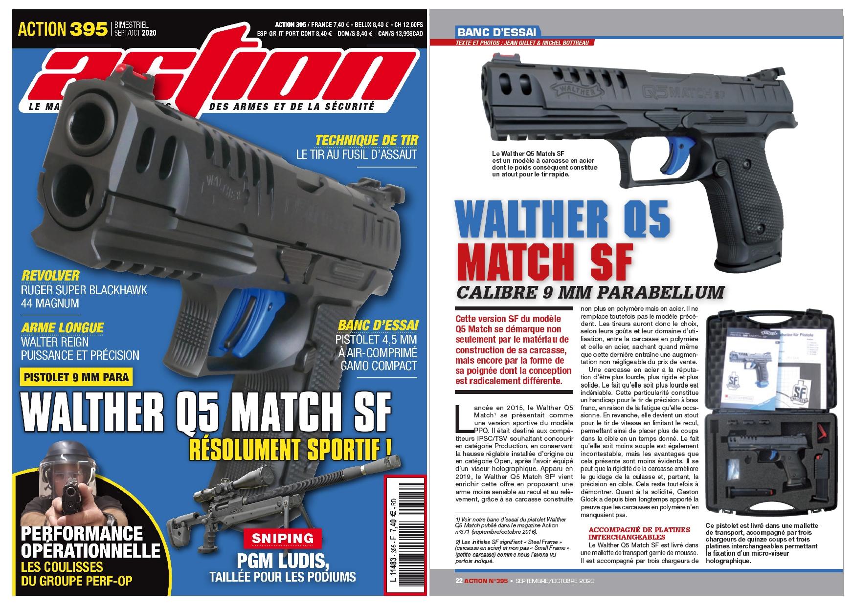 Le banc d'essai du pistolet Walther Q5 Match SF a été publié sur 6 pages dans le magazine Action n°395 (septembre/octobre 2020).