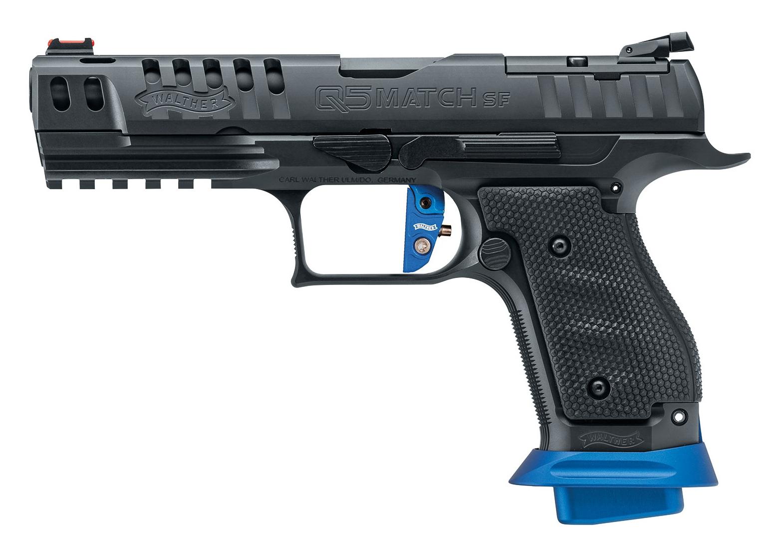 Le Walther modèle Q5 Match SF Expert, qui est destiné aux compétiteurs et n'est malheureusement pas actuellement importé en France, bénéficie d'une queue de détente droite, en aluminium de couleur bleue, dont la pré-course et le backlash sont réglables.