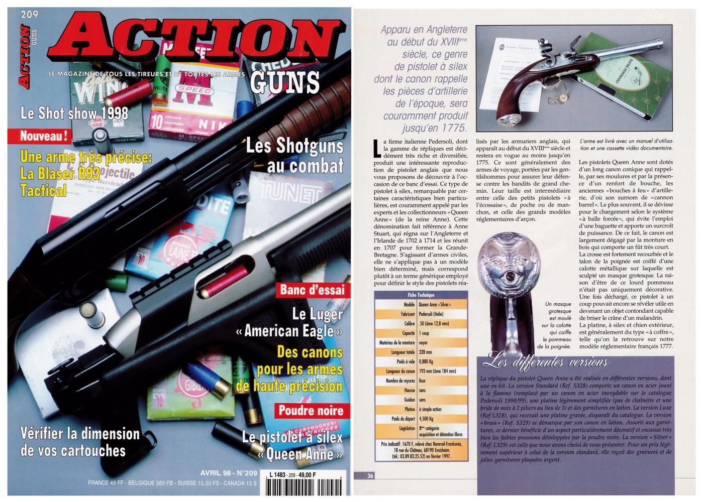 """Le banc d'essai du pistolet Pedersoli """"Queen Anne"""" a été publié sur 5 pages dans le magazine Action Guns n°209 (avril 1998)."""