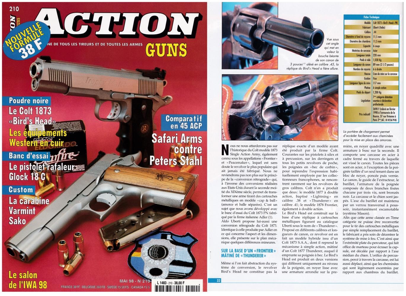 """Le banc d'essai du Colt """"Bird's Head"""" a été publié sur 5 pages dans le magazine Action Guns n°210 (mai 1998)."""