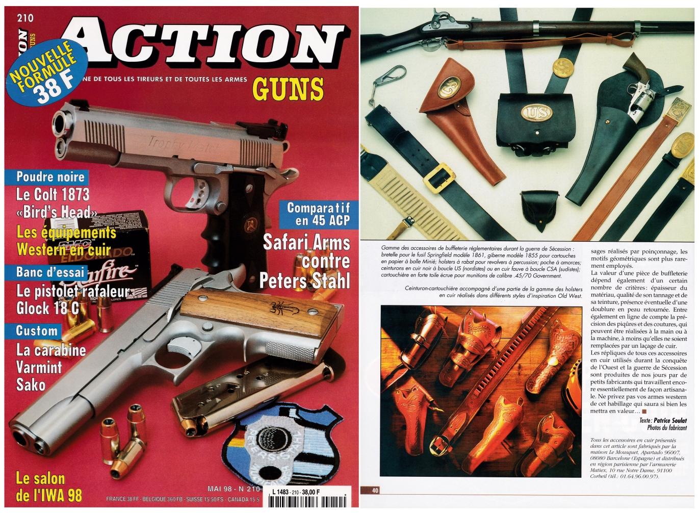 L'article consacré aux équipements Western en cuir a été publié sur 3 pages dans le magazine Action Guns n°210 (mai 1998).