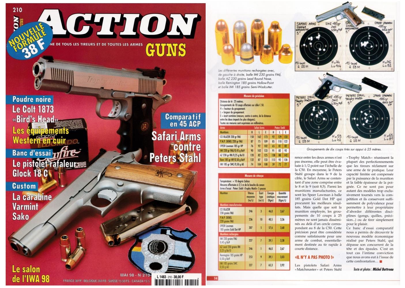 Le banc d'essai comparative des pistolets Safari Arms et Peters Stahl a été publié sur 7 pages dans le magazine Action Guns n°210 (mai 1998).