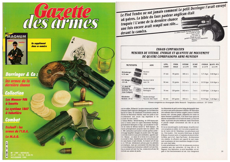 Cet article consacré aux « armes de la dernière chance » a été publié sur 8 pages dans le magazine Gazette des Armes n°147 (novembre 1985).