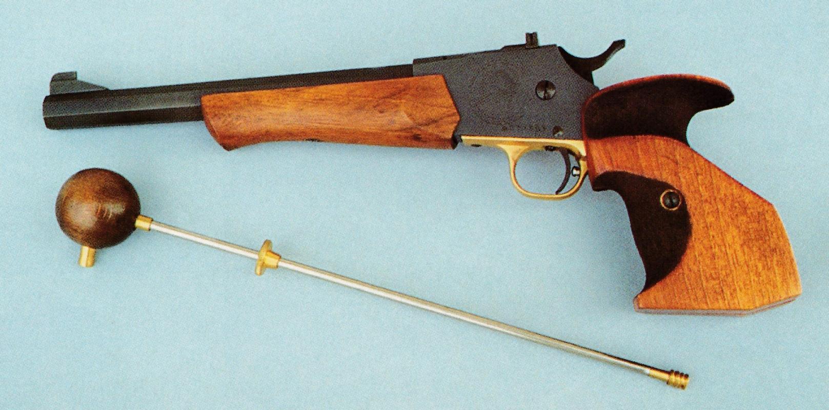 Le modèle Andrew Target du fabricant italien Palmetto ne constitue pas la réplique d'une arme ancienne, mais plutôt une adaptation moderne destinée au tir à la poudre noire.