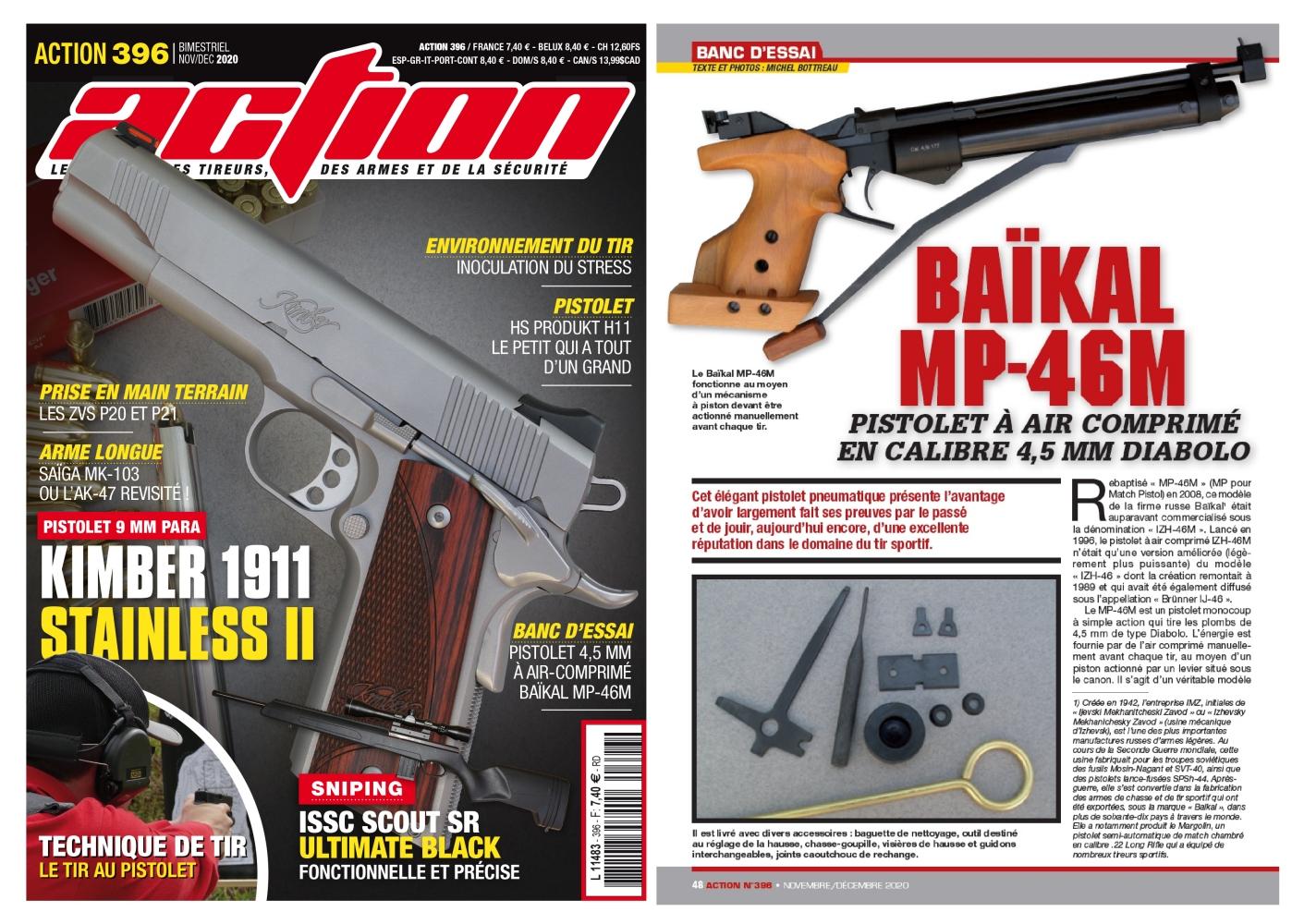 Le banc d'essai du pistolet à air comprimé Baïkal MP-46M a été publié sur 6 pages dans le magazine Action n°396 (novembre/décembre 2020).