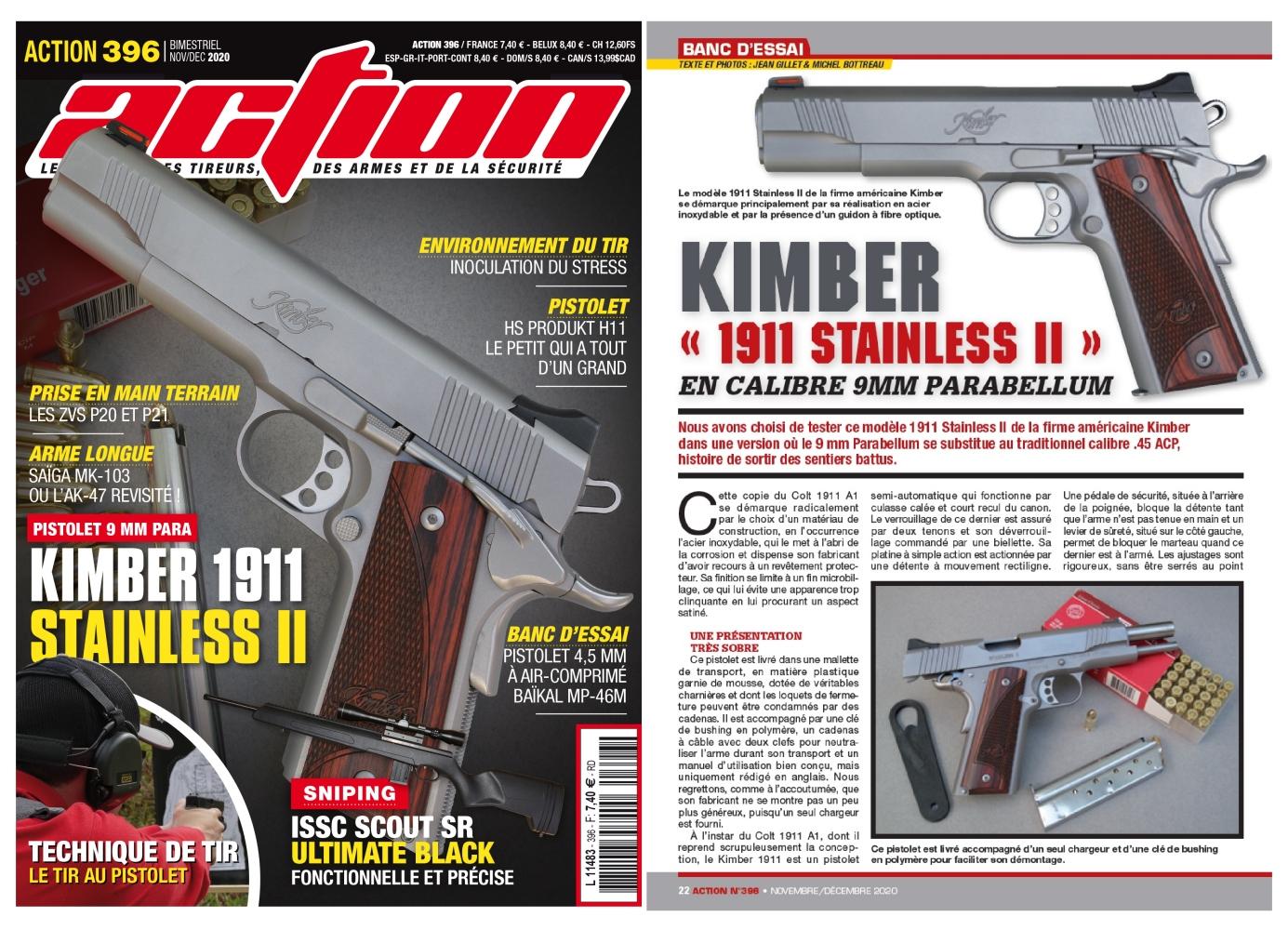 Le banc d'essai du pistolet Kimber Stainless II en calibre 9mm Parabellum a été publié sur 6 pages dans le magazine Action n°396 (novembre/décembre 2020).